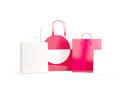 shoping bag: Flag of greenland on shopping bags. 3D illustration