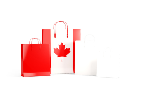 shoping bag: Flag of canada on shopping bags. 3D illustration