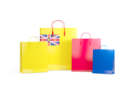 niue: Flag of niue on shopping bags. 3D illustration