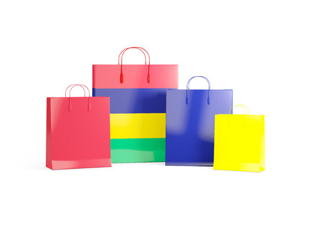 shoping bag: Flag of mauritius on shopping bags. 3D illustration