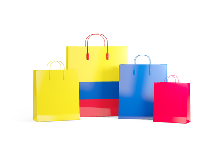 shoping bag: Flag of colombia on shopping bags. 3D illustration Stock Photo