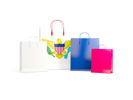 shoping bag: Flag of virgin islands us on shopping bags. 3D illustration