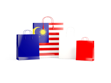 shoping bag: Flag of malaysia on shopping bags. 3D illustration