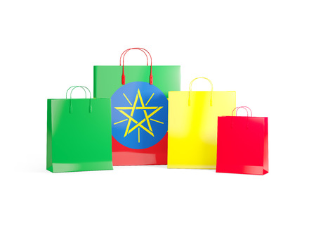 shoping bag: Flag of ethiopia on shopping bags. 3D illustration