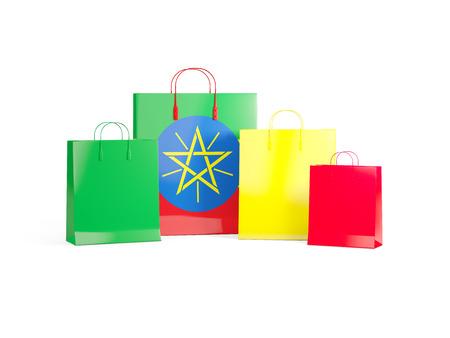 national flag ethiopia: Flag of ethiopia on shopping bags. 3D illustration