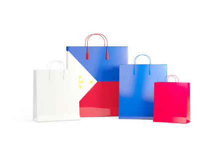 shoping bag: Flag of philippines on shopping bags. 3D illustration