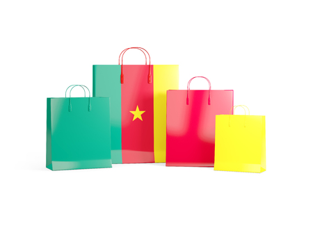 cameroon: Flag of cameroon on shopping bags. 3D illustration