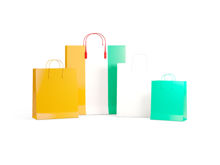 shoping bag: Flag of cote d Ivoire on shopping bags. 3D illustration