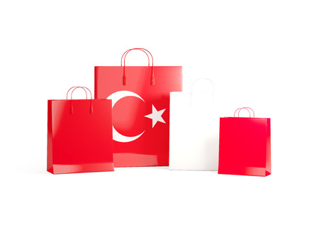 shoping bag: Flag of turkey on shopping bags. 3D illustration