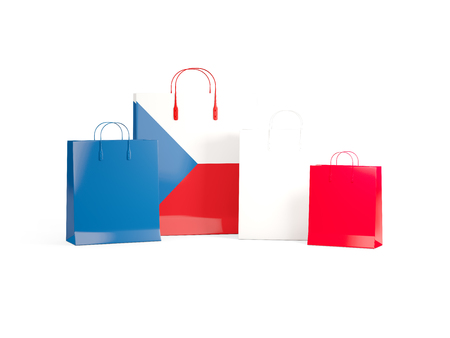shoping bag: Flag of czech republic on shopping bags. 3D illustration