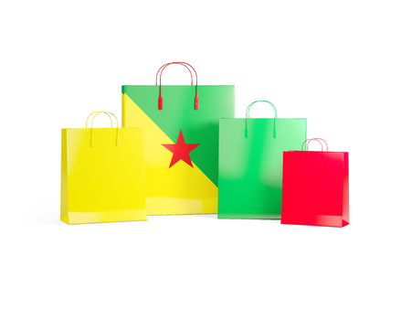 guiana: Flag of french guiana on shopping bags. 3D illustration