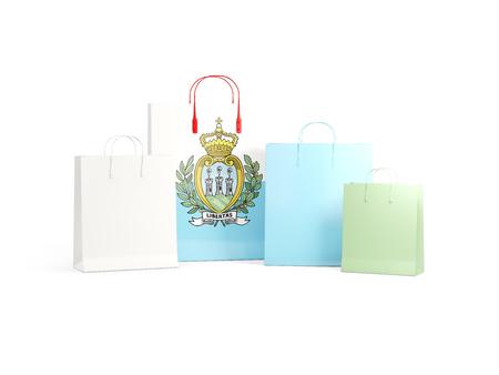 shoping bag: Flag of san marino on shopping bags. 3D illustration
