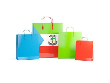 equatorial guinea: Flag of equatorial guinea on shopping bags. 3D illustration