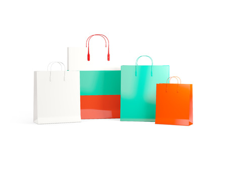 Flag of bulgaria on shopping bags. 3D illustration
