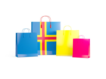 shoping bag: Flag of aland islands on shopping bags. 3D illustration