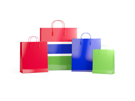 Flag of gambia on shopping bags. 3D illustration
