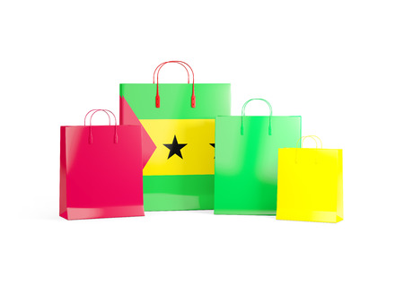 Flag of sao tome and principe on shopping bags. 3D illustration