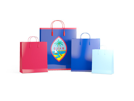 guam: Flag of guam on shopping bags. 3D illustration