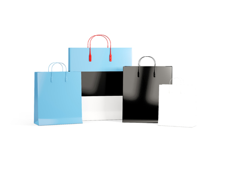shoping bag: Flag of estonia on shopping bags. 3D illustration Stock Photo