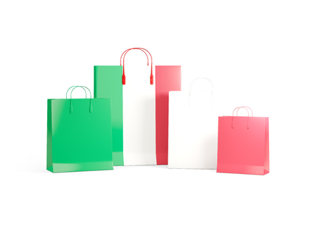 shoping bag: Flag of italy on shopping bags. 3D illustration