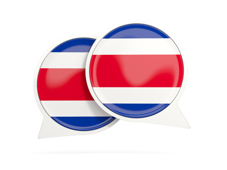 Speech bubbles with flag of costa rica. Round chat icon isolated on white, 3D illustration