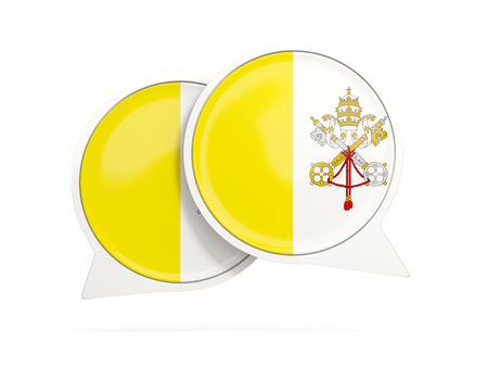Speech bubbles with flag of vatican city. Round chat icon isolated on white, 3D illustration