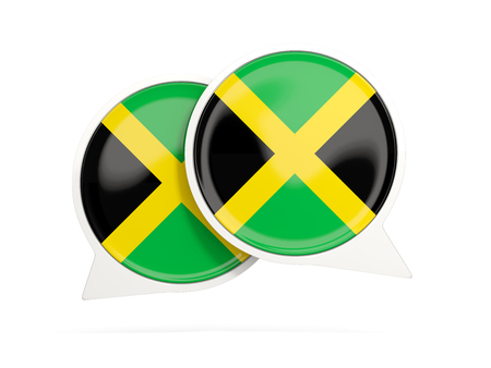 Speech bubbles with flag of jamaica. Round chat icon isolated on white, 3D illustration Stock Photo