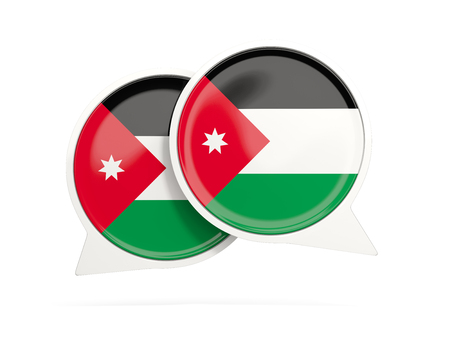 Speech bubbles with flag of jordan. Round chat icon isolated on white, 3D illustration