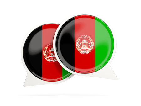 Speech bubbles with flag of afghanistan. Round chat icon isolated on white, 3D illustration Stock Photo