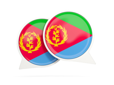 Speech bubbles with flag of eritrea. Round chat icon isolated on white, 3D illustration Stock Photo