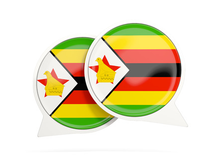 Speech bubbles with flag of zimbabwe. Round chat icon isolated on white, 3D illustration