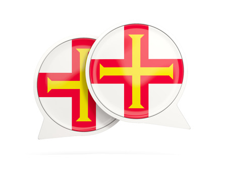guernsey: Speech bubbles with flag of guernsey. Round chat icon isolated on white, 3D illustration