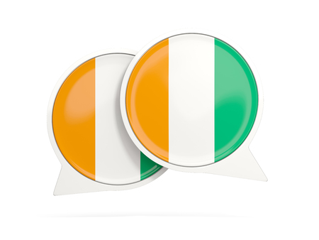 Speech bubbles with flag of cote d Ivoire. Round chat icon isolated on white, 3D illustration Stock Photo