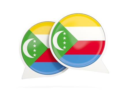 comoros: Speech bubbles with flag of comoros. Round chat icon isolated on white, 3D illustration Stock Photo