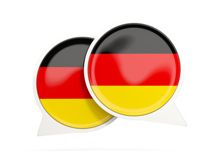 deutschland: Speech bubbles with flag of germany. Round chat icon isolated on white, 3D illustration