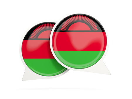 Speech bubbles with flag of malawi. Round chat icon isolated on white, 3D illustration Stock Photo