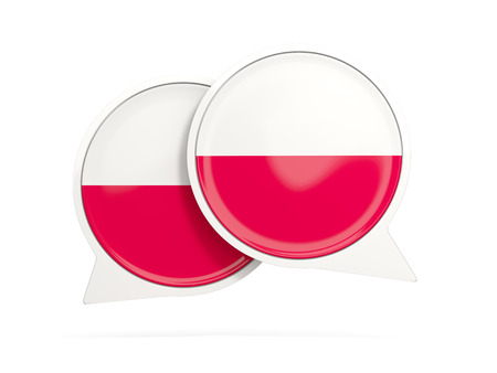 Speech bubbles with flag of poland. Round chat icon isolated on white, 3D illustration