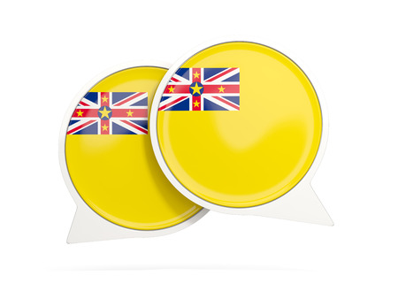 niue: Speech bubbles with flag of niue. Round chat icon isolated on white, 3D illustration Stock Photo