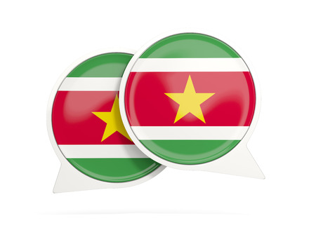suriname: Speech bubbles with flag of suriname. Round chat icon isolated on white, 3D illustration