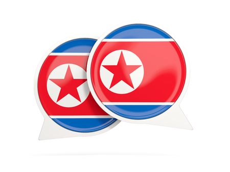 isolated: Speech bubbles with flag of north korea. Round chat icon isolated on white, 3D illustration