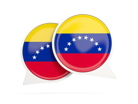 bandera de venezuela: Speech bubbles with flag of venezuela. Round chat icon isolated on white, 3D illustration