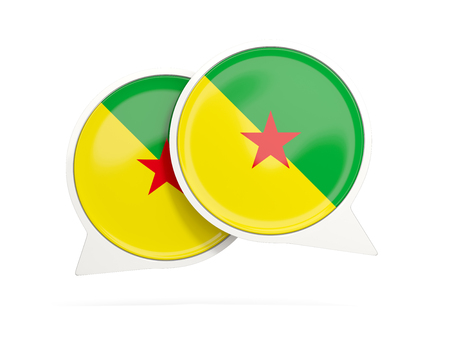 Speech bubbles with flag of french guiana. Round chat icon isolated on white, 3D illustration