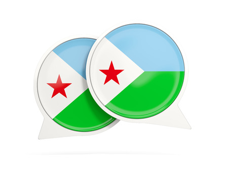djibouti: Speech bubbles with flag of djibouti. Round chat icon isolated on white, 3D illustration