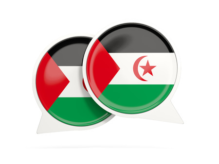 Speech bubbles with flag of western sahara. Round chat icon isolated on white, 3D illustration