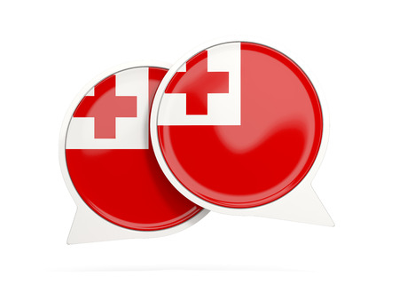 tonga: Speech bubbles with flag of tonga. Round chat icon isolated on white, 3D illustration