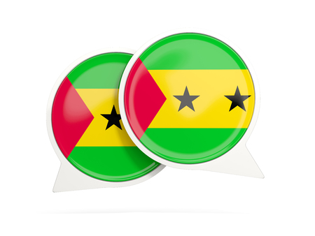 Speech bubbles with flag of sao tome and principe. Round chat icon isolated on white, 3D illustration Stock Photo