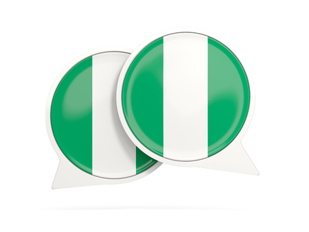 Speech bubbles with flag of nigeria. Round chat icon isolated on white, 3D illustration