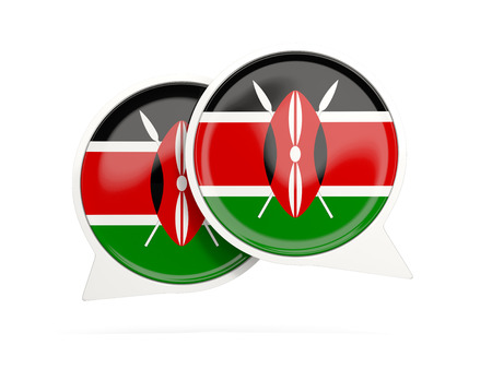 Speech bubbles with flag of kenya. Round chat icon isolated on white, 3D illustration Stock Photo