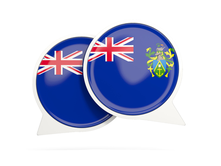 pitcairn: Speech bubbles with flag of pitcairn islands. Round chat icon isolated on white, 3D illustration Stock Photo