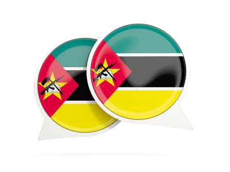 Speech bubbles with flag of mozambique. Round chat icon isolated on white, 3D illustration Stock Photo